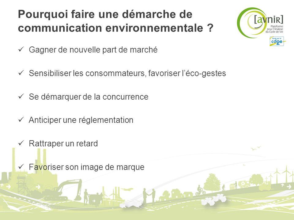 Pourquoi faire une démarche de communication environnementale ? Gagner de nouvelle part de marché Sensibiliser les consommateurs, favoriser léco-geste