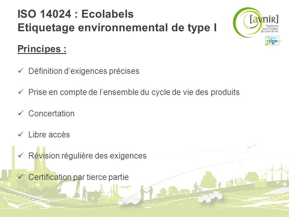 ISO 14024 : Ecolabels Etiquetage environnemental de type I Principes : Définition dexigences précises Prise en compte de lensemble du cycle de vie des