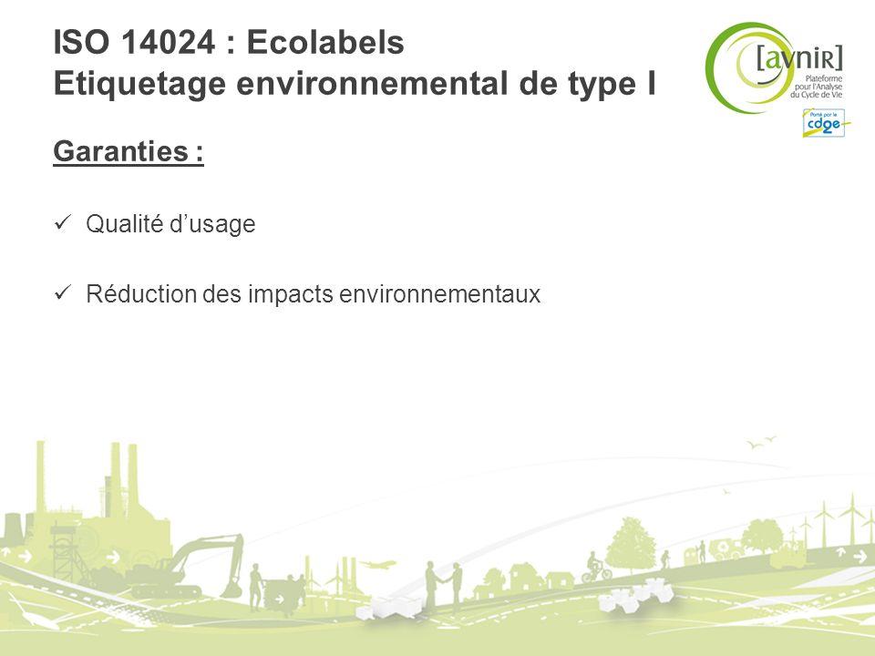 ISO 14024 : Ecolabels Etiquetage environnemental de type I Garanties : Qualité dusage Réduction des impacts environnementaux