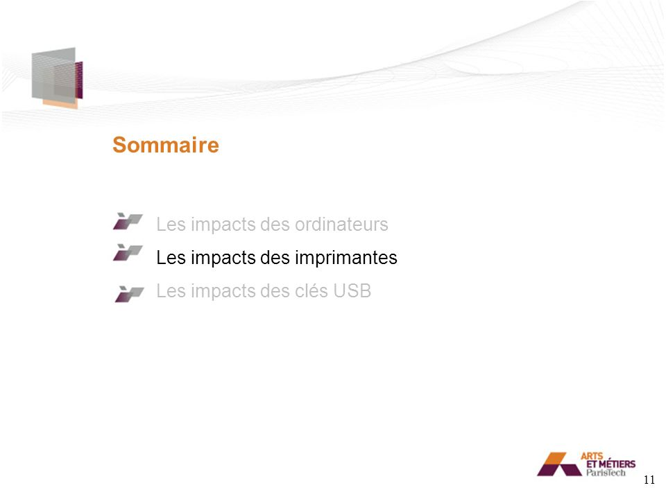 Sommaire Les impacts des ordinateurs Les impacts des imprimantes Les impacts des clés USB 11