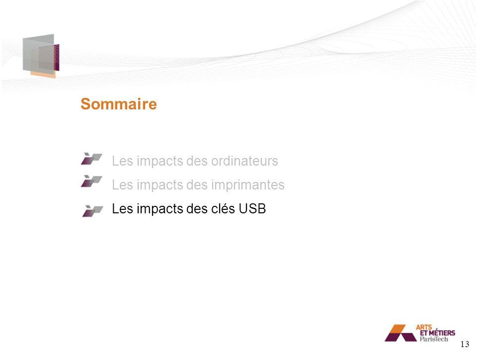 Sommaire Les impacts des ordinateurs Les impacts des imprimantes Les impacts des clés USB 13