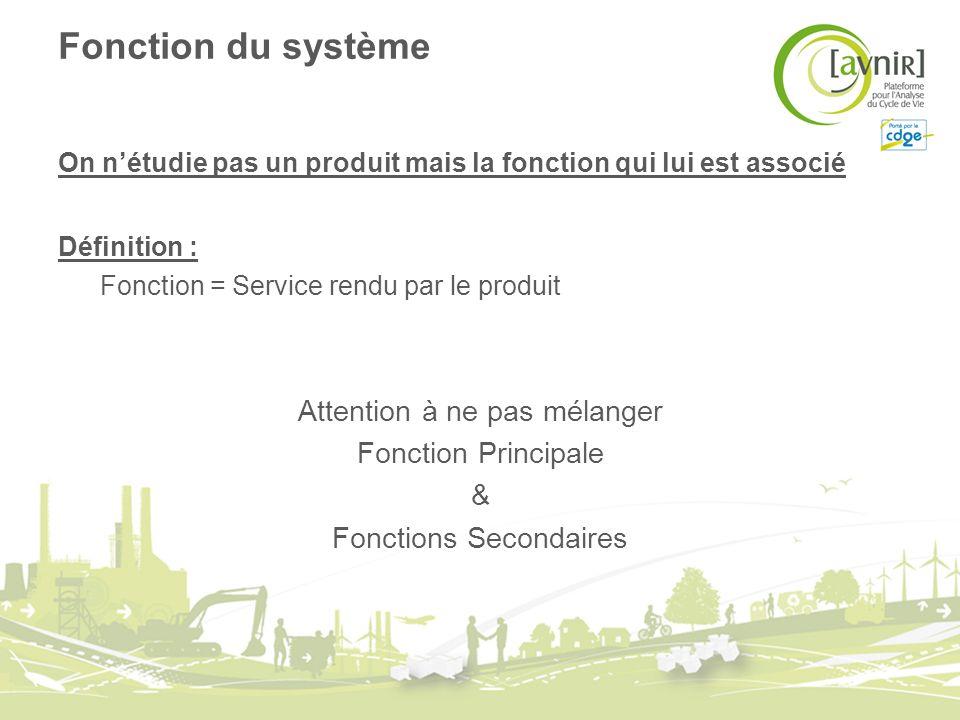 Fonction du système On nétudie pas un produit mais la fonction qui lui est associé Définition : Fonction = Service rendu par le produit Attention à ne