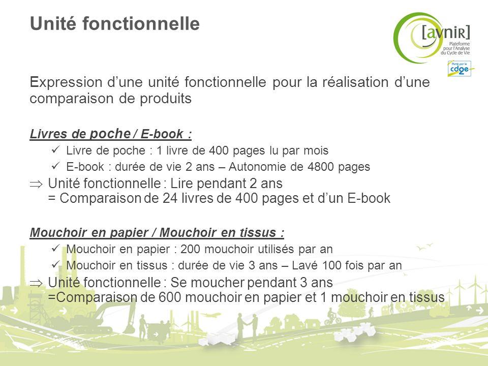 Unité fonctionnelle Expression dune unité fonctionnelle pour la réalisation dune comparaison de produits Livres de poche / E-book : Livre de poche : 1