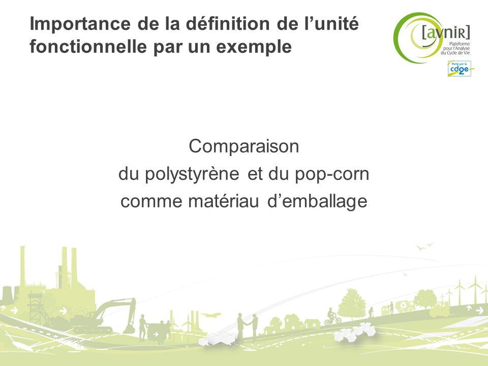 Importance de la définition de lunité fonctionnelle par un exemple Comparaison du polystyrène et du pop-corn comme matériau demballage