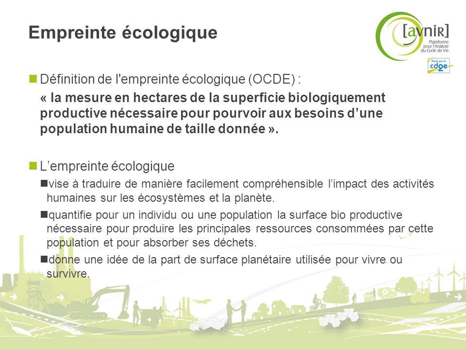 Empreinte écologique Définition de l'empreinte écologique (OCDE) : « la mesure en hectares de la superficie biologiquement productive nécessaire pour