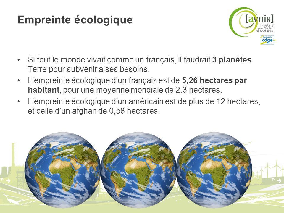 Empreinte écologique Si tout le monde vivait comme un français, il faudrait 3 planètes Terre pour subvenir à ses besoins. Lempreinte écologique dun fr