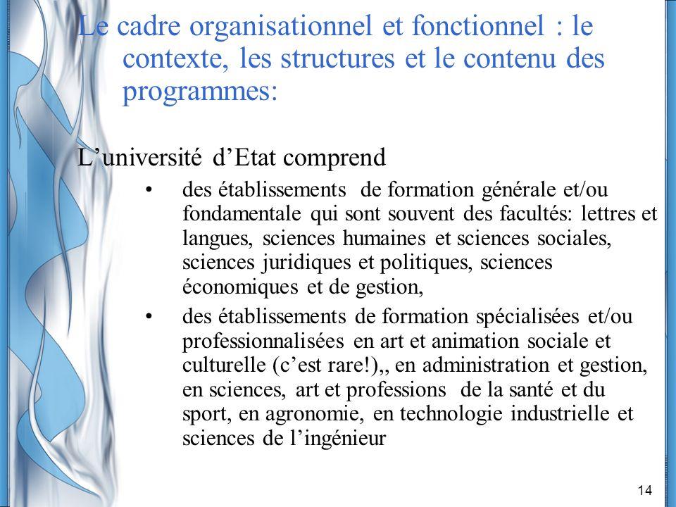 14 Le cadre organisationnel et fonctionnel : le contexte, les structures et le contenu des programmes: Luniversité dEtat comprend des établissements d