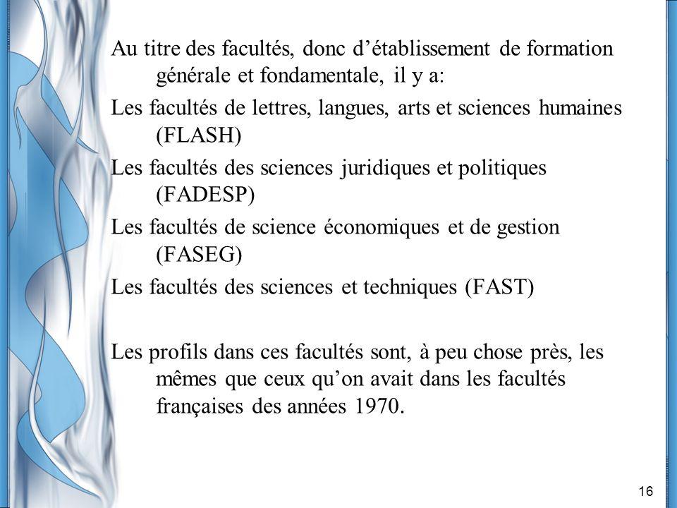 16 Au titre des facultés, donc détablissement de formation générale et fondamentale, il y a: Les facultés de lettres, langues, arts et sciences humain