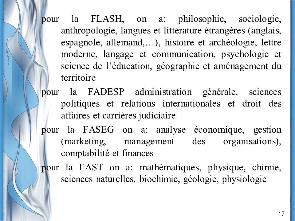 17 pour la FLASH, on a: philosophie, sociologie, anthropologie, langues et littérature étrangères (anglais, espagnole, allemand,…), histoire et archéo
