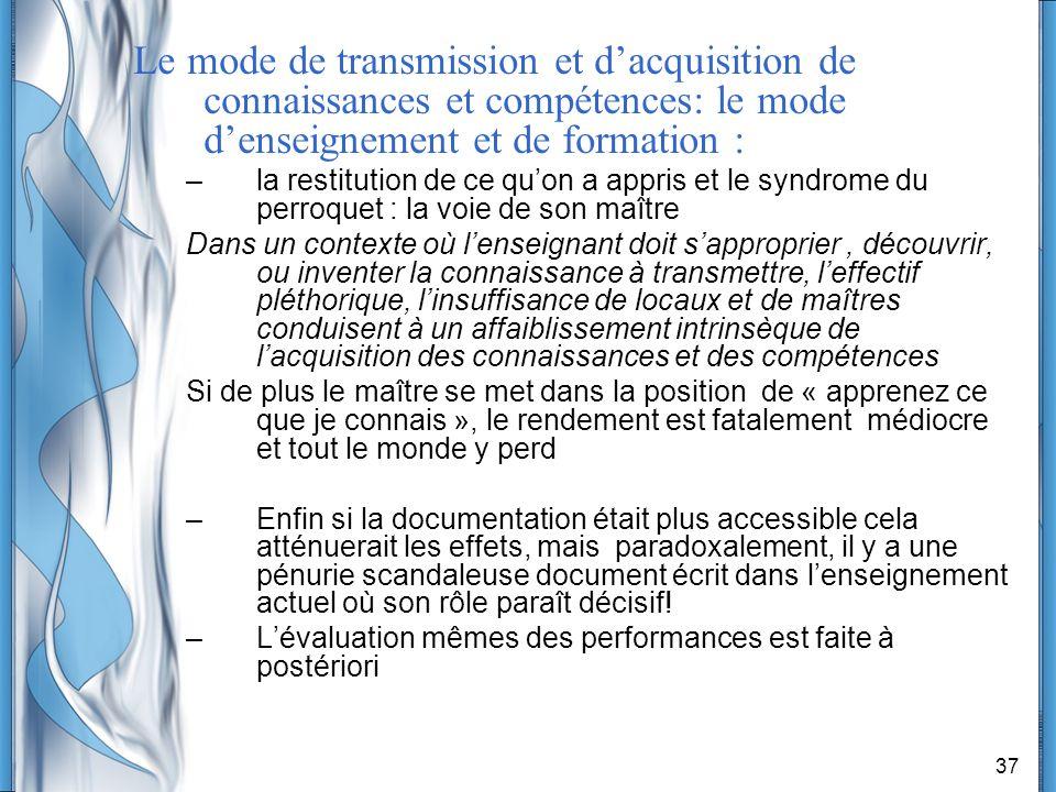 37 Le mode de transmission et dacquisition de connaissances et compétences: le mode denseignement et de formation : –la restitution de ce quon a appri