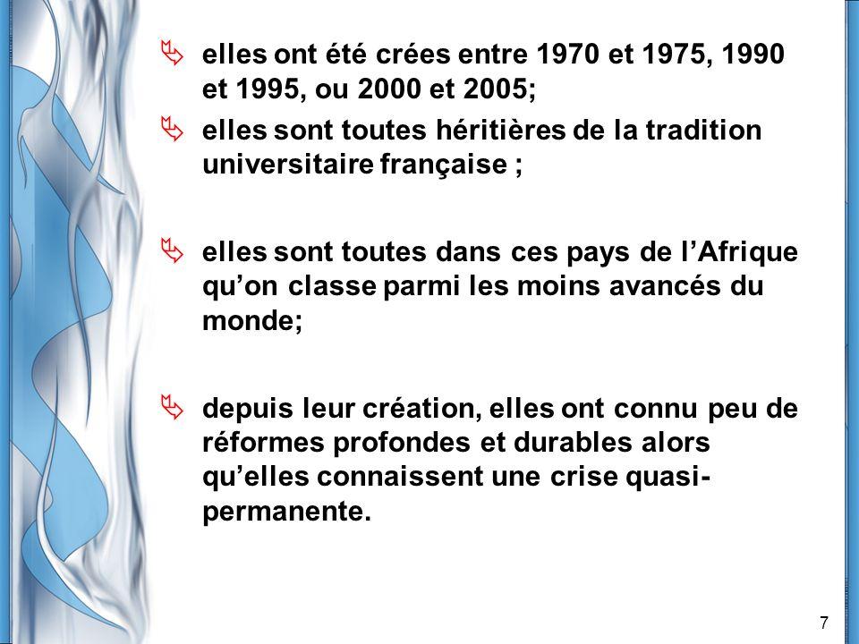 7 elles ont été crées entre 1970 et 1975, 1990 et 1995, ou 2000 et 2005; elles sont toutes héritières de la tradition universitaire française ; elles