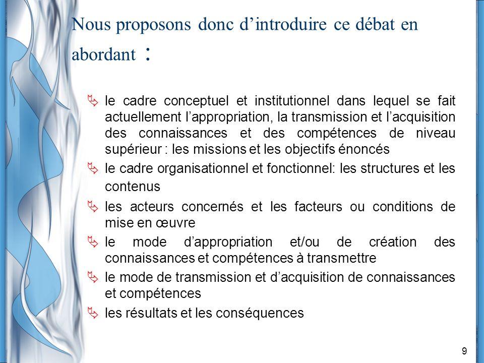 9 Nous proposons donc dintroduire ce débat en abordant : le cadre conceptuel et institutionnel dans lequel se fait actuellement lappropriation, la tra