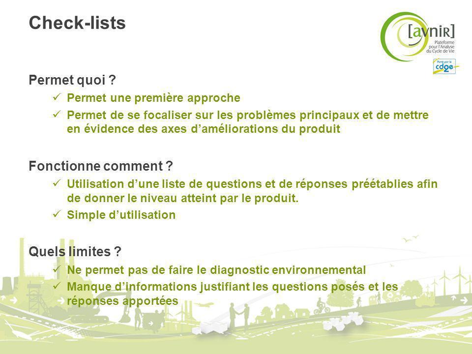 Check-lists Permet quoi ? Permet une première approche Permet de se focaliser sur les problèmes principaux et de mettre en évidence des axes daméliora
