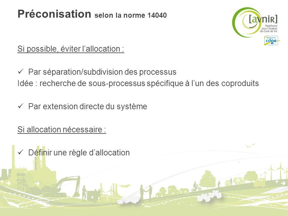 Préconisation selon la norme 14040 Si possible, éviter lallocation : Par séparation/subdivision des processus Idée : recherche de sous-processus spéci