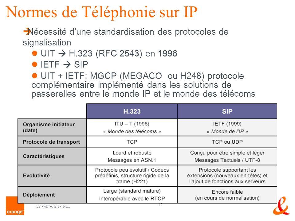 13 La VoIP et la TV Num Normes de Téléphonie sur IP Nécessité dune standardisation des protocoles de signalisation UIT H.323 (RFC 2543) en 1996 IETF S
