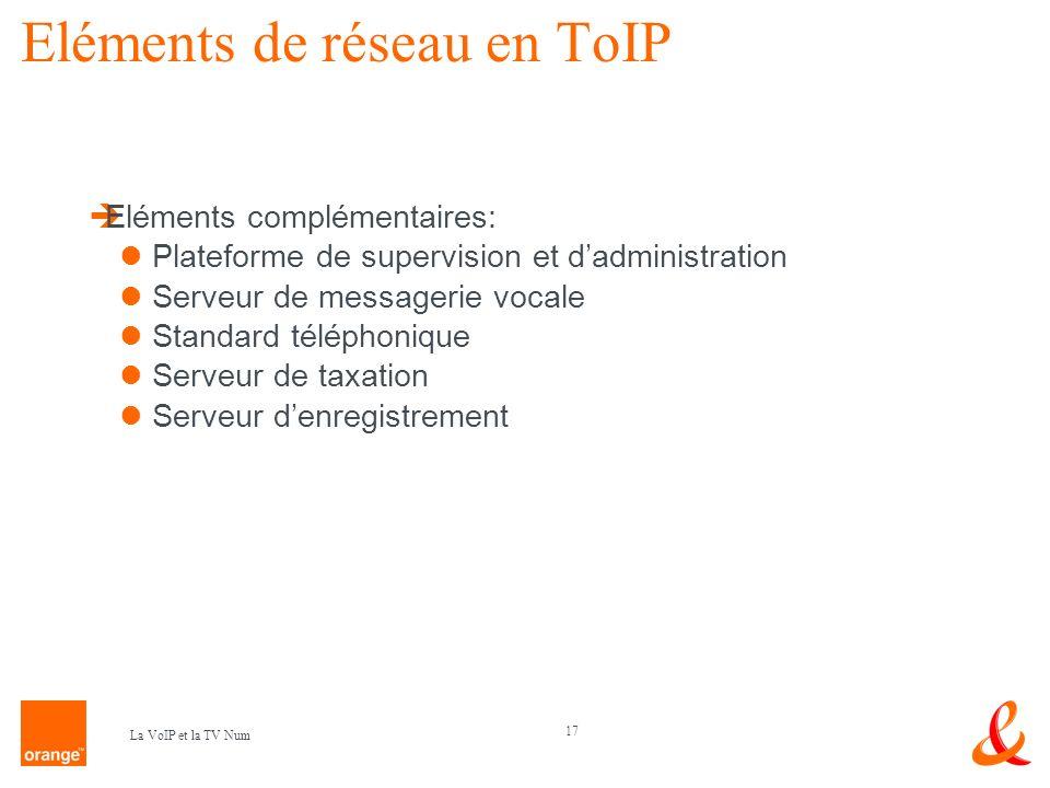 17 La VoIP et la TV Num Eléments de réseau en ToIP Eléments complémentaires: Plateforme de supervision et dadministration Serveur de messagerie vocale