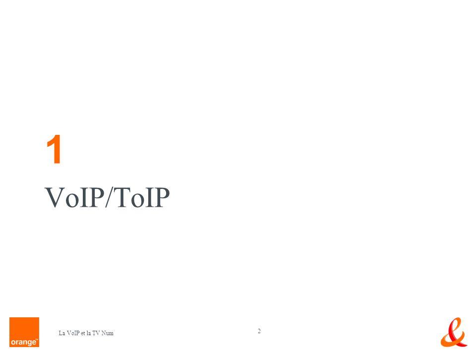 23 La VoIP et la TV Num Service VoIP proposés par France Telecom : Téléphonie sur ADSL Ma Ligne Visio (visiophonie avec interconnexion sur RTC) Orange Messenger (visiophonie sur PC avec à terme interconnexion sur RTC) Entreprises: offre IP VPN dEquant ( ToIP ou centrex ) une partie du trafic international migré en VoIP