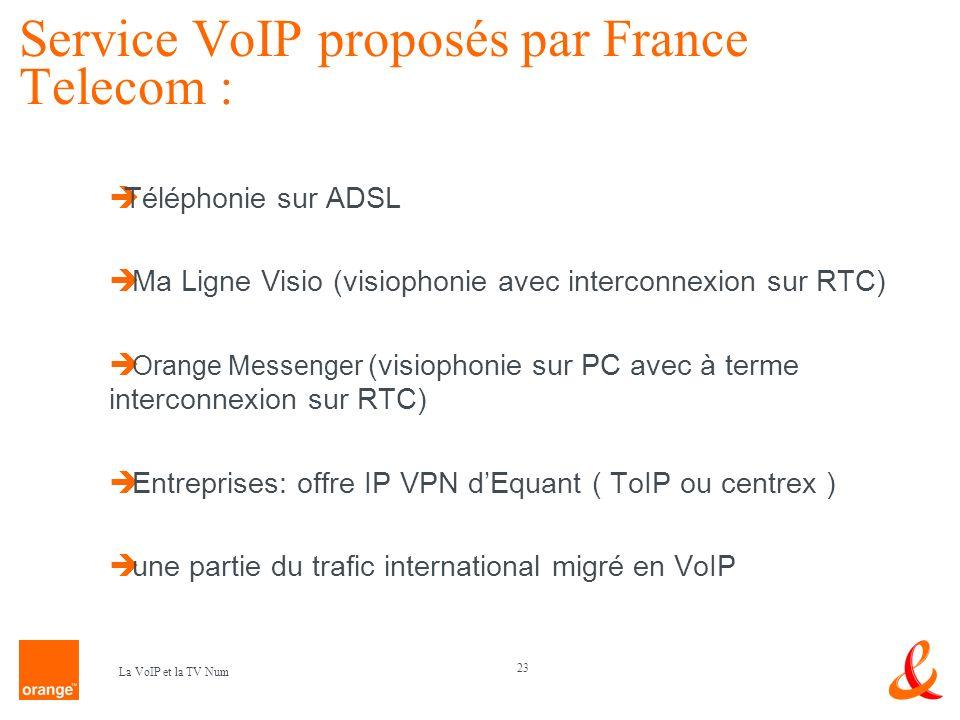 23 La VoIP et la TV Num Service VoIP proposés par France Telecom : Téléphonie sur ADSL Ma Ligne Visio (visiophonie avec interconnexion sur RTC) Orange