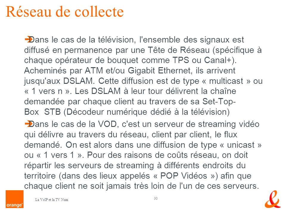 30 La VoIP et la TV Num Réseau de collecte Dans le cas de la télévision, l'ensemble des signaux est diffusé en permanence par une Tête de Réseau (spéc
