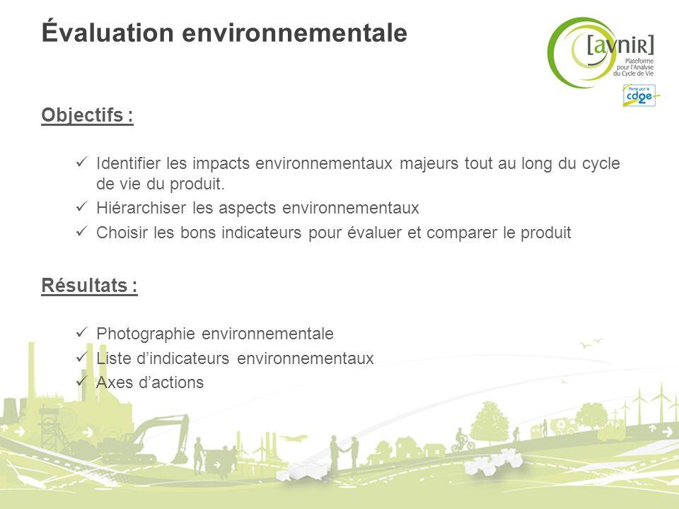Évaluation environnementale Objectifs : Identifier les impacts environnementaux majeurs tout au long du cycle de vie du produit. Hiérarchiser les aspe