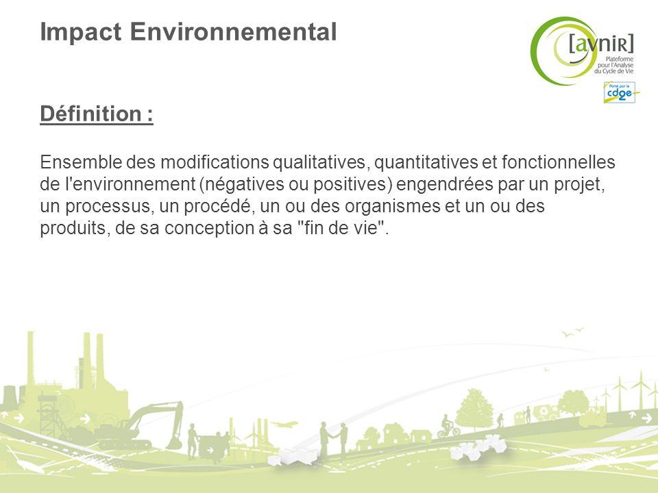 Impact Environnemental Définition : Ensemble des modifications qualitatives, quantitatives et fonctionnelles de l'environnement (négatives ou positive