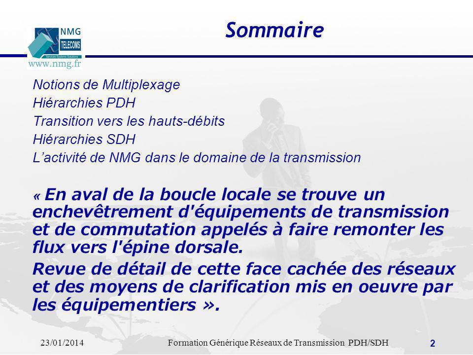 23/01/2014Formation Générique Réseaux de Transmission PDH/SDH 3 Multiplexage Le multiplexage joue un rôle prépondérant dans la construction des réseaux de transmission.