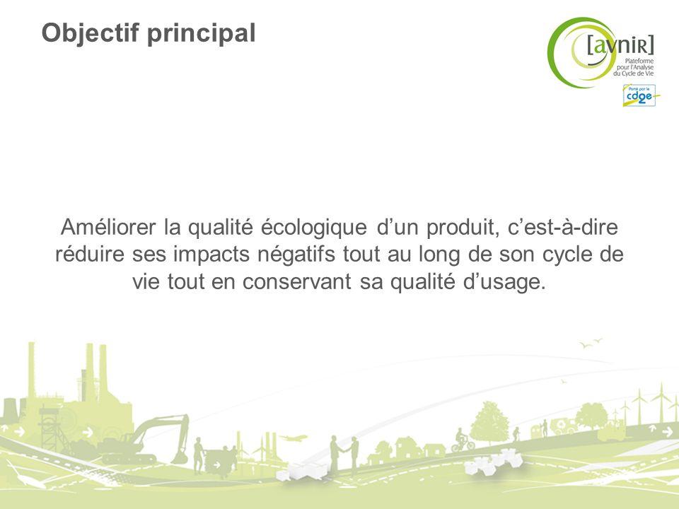 Objectif principal Améliorer la qualité écologique dun produit, cest-à-dire réduire ses impacts négatifs tout au long de son cycle de vie tout en cons