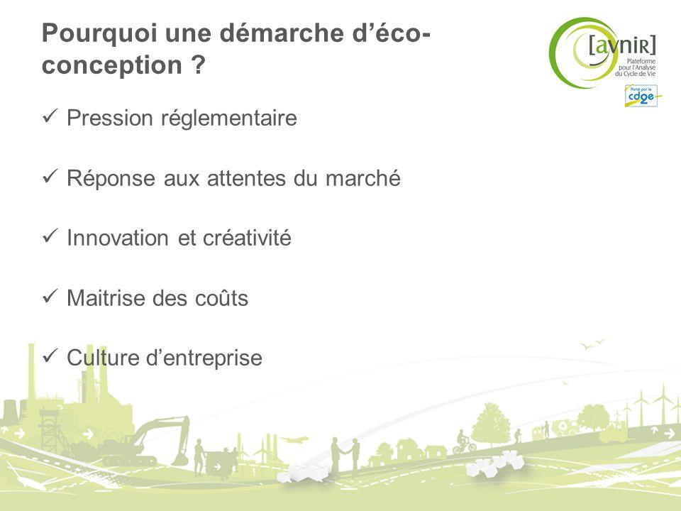 Pourquoi une démarche déco- conception ? Pression réglementaire Réponse aux attentes du marché Innovation et créativité Maitrise des coûts Culture den