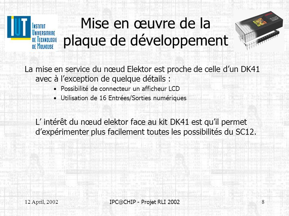 12 April, 20028 IPC@CHIP - Projet RLI 2002 Mise en œuvre de la plaque de développement La mise en service du nœud Elektor est proche de celle dun DK41