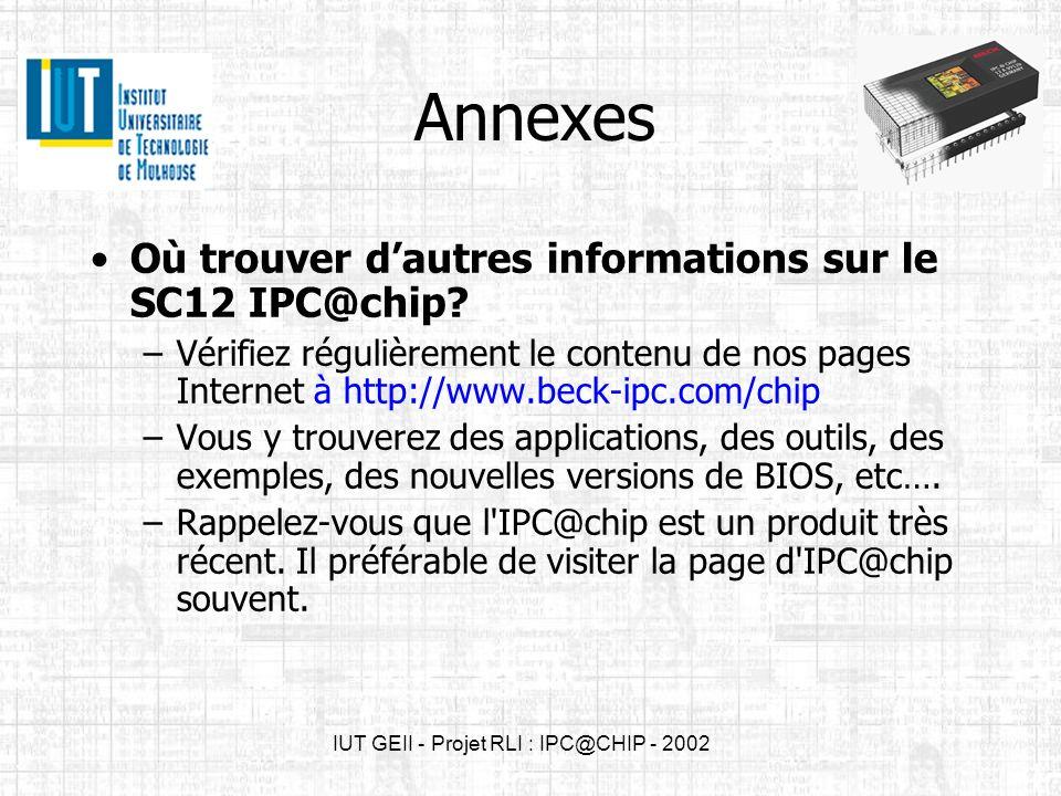 IUT GEII - Projet RLI : IPC@CHIP - 2002 Annexes Où trouver dautres informations sur le SC12 IPC@chip? –Vérifiez régulièrement le contenu de nos pages