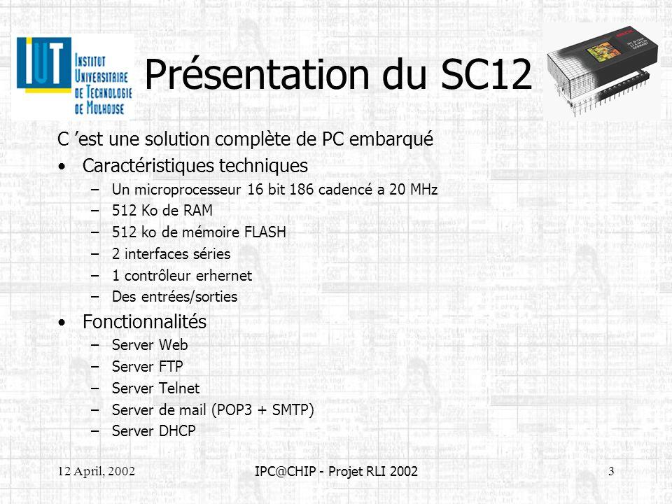 12 April, 20023 IPC@CHIP - Projet RLI 2002 Présentation du SC12 C est une solution complète de PC embarqué Caractéristiques techniques –Un microproces
