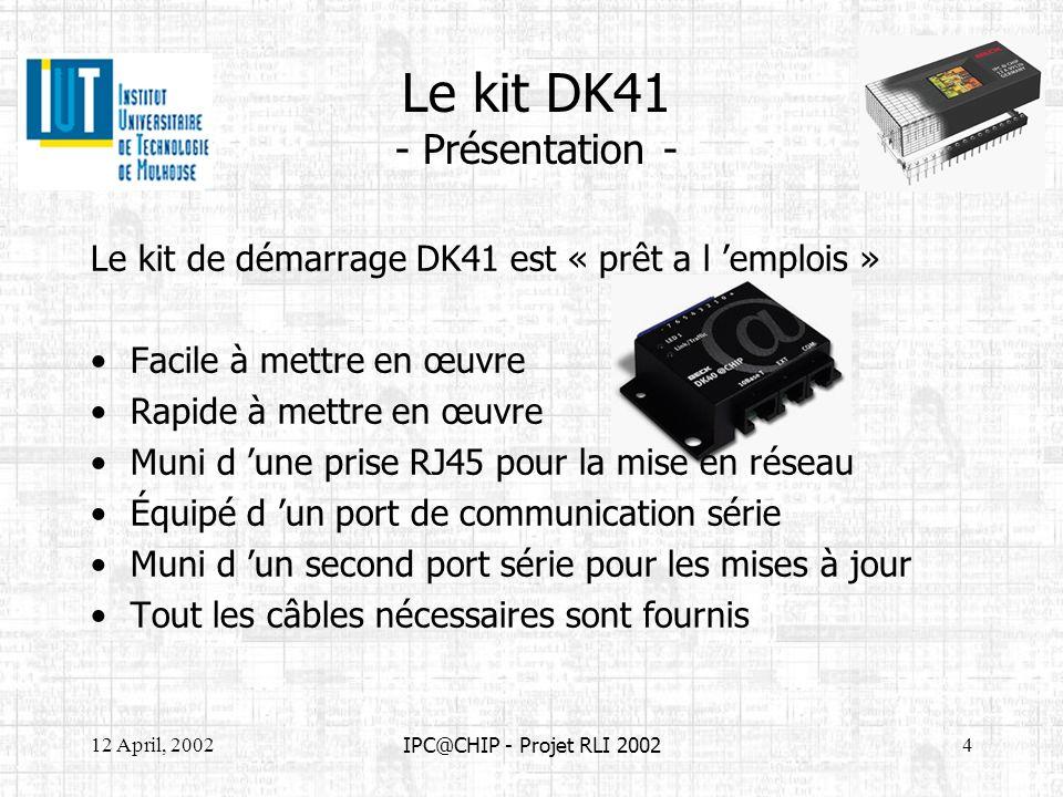 12 April, 20025 IPC@CHIP - Projet RLI 2002 Le kit DK41 - Mise en service - Alimentation entre 10V et 36 V continu Liaison série Connexion au réseau - + Connexion série directe avec le PC Connexion réseau 10 Mbps à l aide d un cable droit Connexion réseau 100 Mbps à l aide d un cable droit