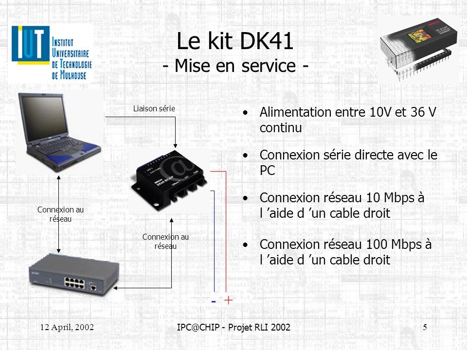IUT GEII - Projet RLI : IPC@CHIP - 2002 Mise en œuvre du kit dk40 1) Connectez les 2 bornes dalimentation notées + et - a une alimentation stabilisée entre 10 et 36 V.