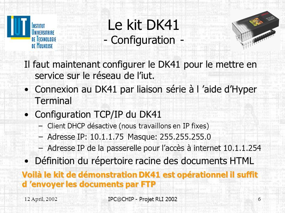 12 April, 20026 IPC@CHIP - Projet RLI 2002 Le kit DK41 - Configuration - Il faut maintenant configurer le DK41 pour le mettre en service sur le réseau
