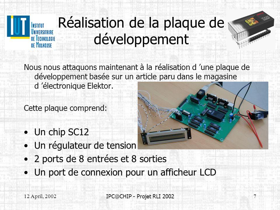 12 April, 20028 IPC@CHIP - Projet RLI 2002 Mise en œuvre de la plaque de développement La mise en service du nœud Elektor est proche de celle dun DK41 avec à lexception de quelque détails : Possibilité de connecteur un afficheur LCD Utilisation de 16 Entrées/Sorties numériques L intérêt du nœud elektor face au kit DK41 est quil permet dexpérimenter plus facilement toutes les possibilités du SC12.
