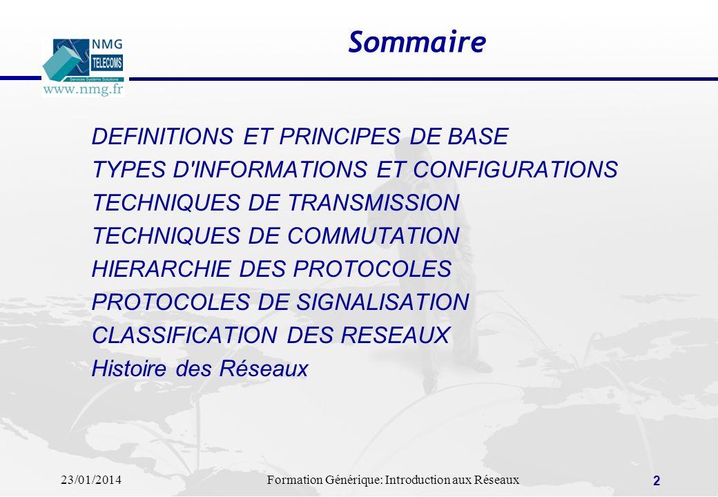 23/01/2014Formation Générique: Introduction aux Réseaux 2 DEFINITIONS ET PRINCIPES DE BASE TYPES D'INFORMATIONS ET CONFIGURATIONS TECHNIQUES DE TRANSM