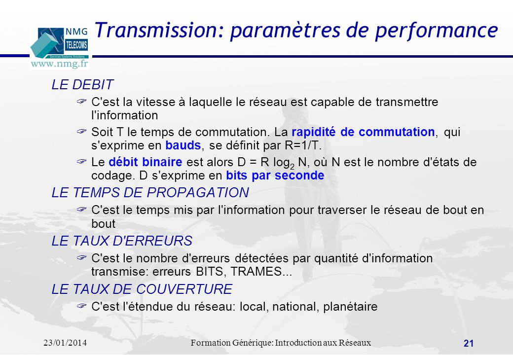 23/01/2014Formation Générique: Introduction aux Réseaux 21 LE DEBIT C'est la vitesse à laquelle le réseau est capable de transmettre l'information Soi