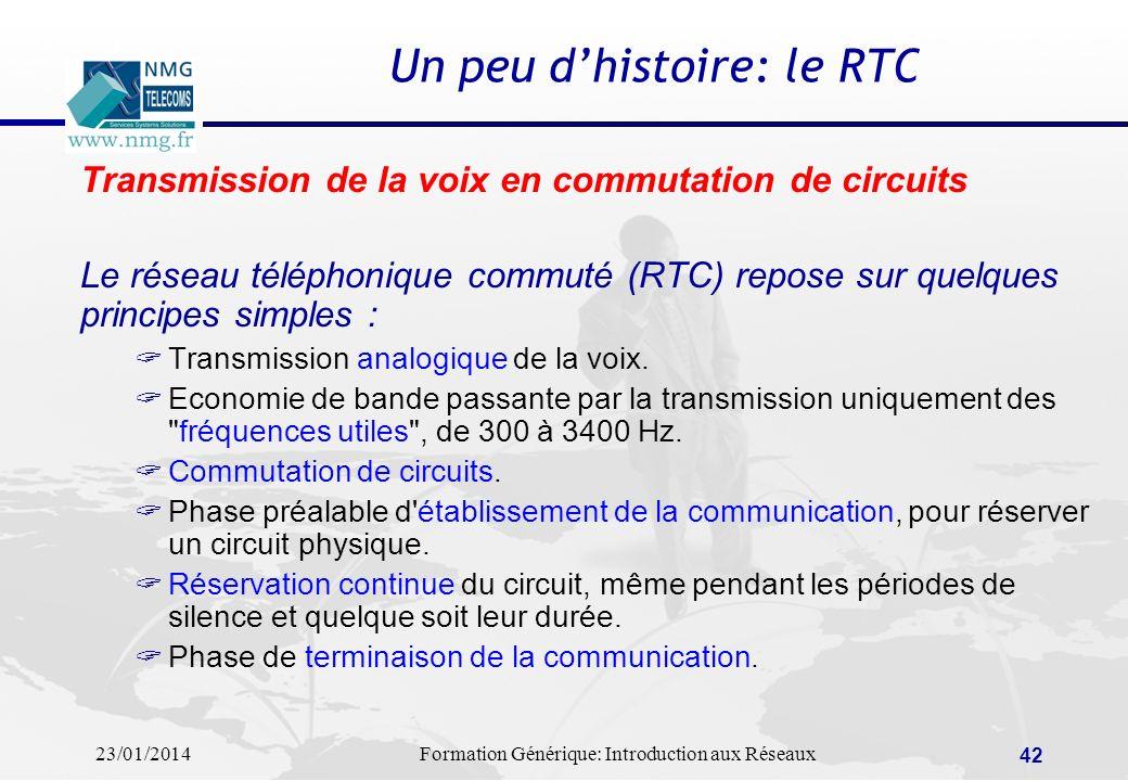 23/01/2014Formation Générique: Introduction aux Réseaux 42 Un peu dhistoire: le RTC Transmission de la voix en commutation de circuits Le réseau télép