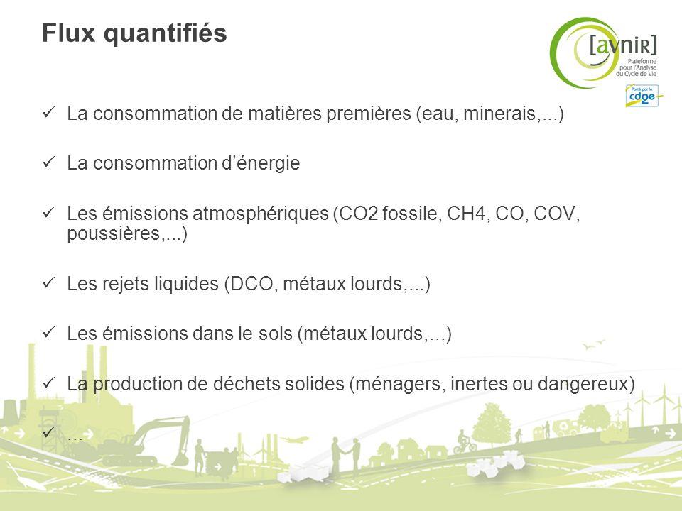 Flux quantifiés La consommation de matières premières (eau, minerais,...) La consommation dénergie Les émissions atmosphériques (CO2 fossile, CH4, CO,