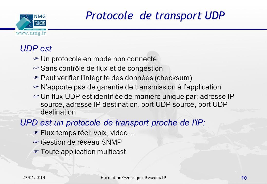 23/01/2014Formation Générique: Réseaux IP 10 Protocole de transport UDP UDP est Un protocole en mode non connecté Sans contrôle de flux et de congesti