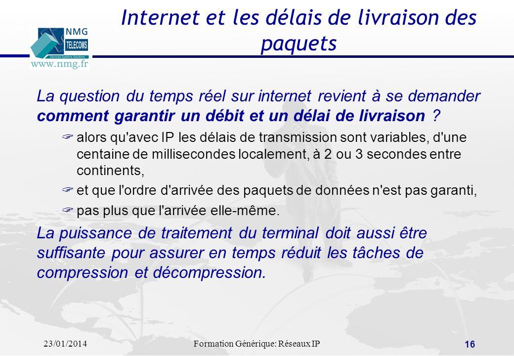 23/01/2014Formation Générique: Réseaux IP 16 Internet et les délais de livraison des paquets La question du temps réel sur internet revient à se deman
