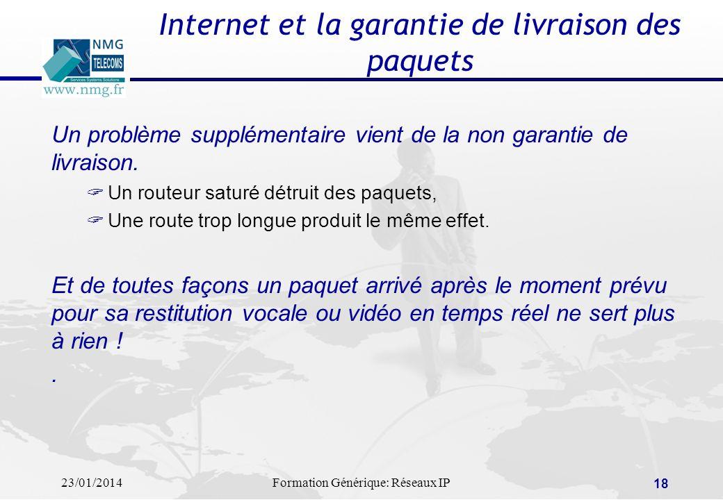 23/01/2014Formation Générique: Réseaux IP 18 Internet et la garantie de livraison des paquets Un problème supplémentaire vient de la non garantie de l