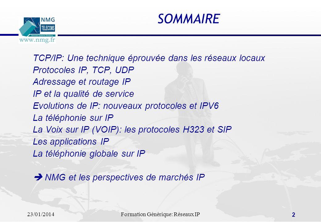 23/01/2014Formation Générique: Réseaux IP 2 SOMMAIRE TCP/IP: Une technique éprouvée dans les réseaux locaux Protocoles IP, TCP, UDP Adressage et routa