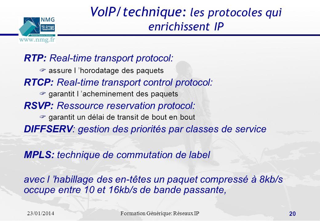 23/01/2014Formation Générique: Réseaux IP 20 VoIP/technique: les protocoles qui enrichissent IP RTP: Real-time transport protocol: assure l horodatage