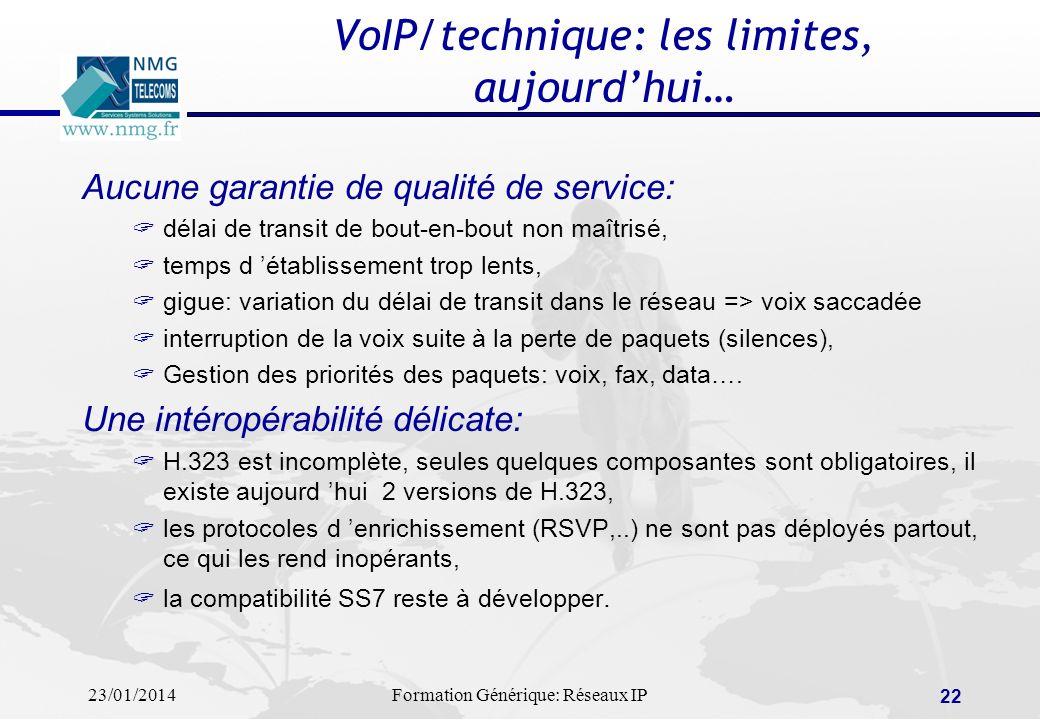 23/01/2014Formation Générique: Réseaux IP 22 VoIP/technique: les limites, aujourdhui… Aucune garantie de qualité de service: délai de transit de bout-