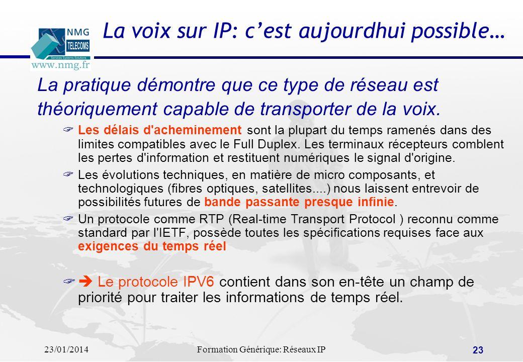 23/01/2014Formation Générique: Réseaux IP 23 La voix sur IP: cest aujourdhui possible… La pratique démontre que ce type de réseau est théoriquement ca