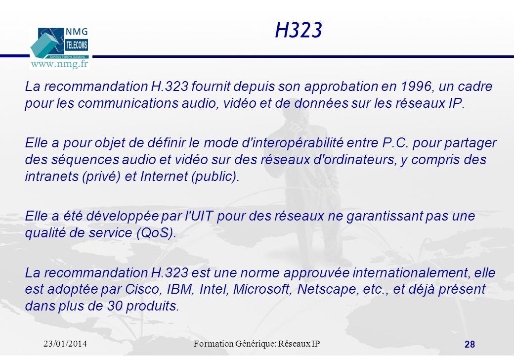 23/01/2014Formation Générique: Réseaux IP 28 H323 La recommandation H.323 fournit depuis son approbation en 1996, un cadre pour les communications aud