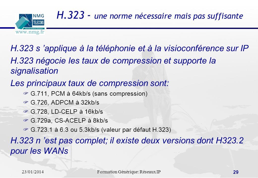 23/01/2014Formation Générique: Réseaux IP 29 H.323 - une norme nécessaire mais pas suffisante H.323 s applique à la téléphonie et à la visioconférence