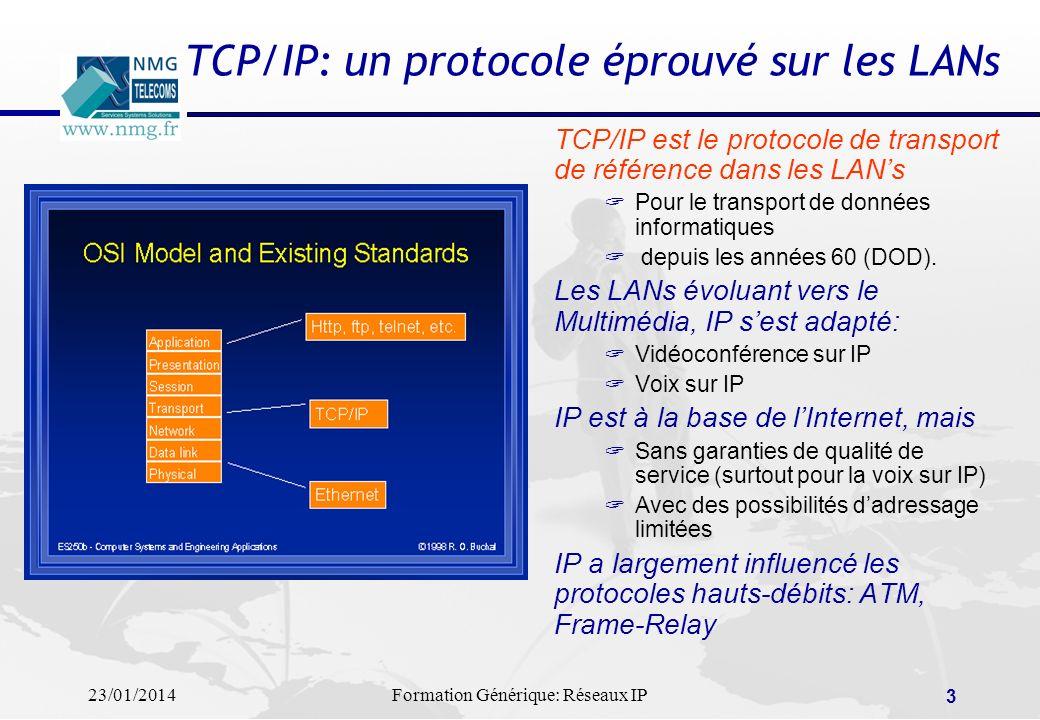 23/01/2014Formation Générique: Réseaux IP 3 TCP/IP: un protocole éprouvé sur les LANs TCP/IP est le protocole de transport de référence dans les LANs