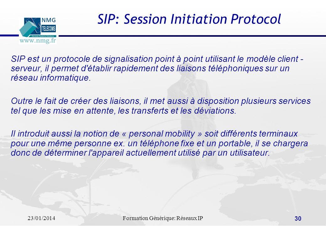 23/01/2014Formation Générique: Réseaux IP 30 SIP: Session Initiation Protocol SIP est un protocole de signalisation point à point utilisant le modèle
